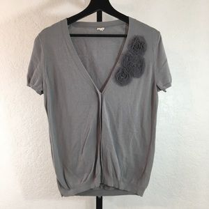 J. Crew-Gray Floral Short Sleeve Cardigan-Large